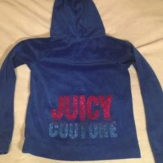 Juicy Couture hoodie Velour style hoodie, fits more like a medium, excellent condition! Juicy Couture Tops Sweatshirts & Hoodies