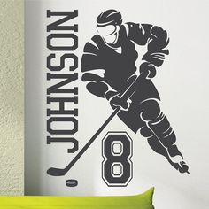 Personalized Name and HOCKEY PLAYER 1 Vinyl by SunshineGraphix, $24.99