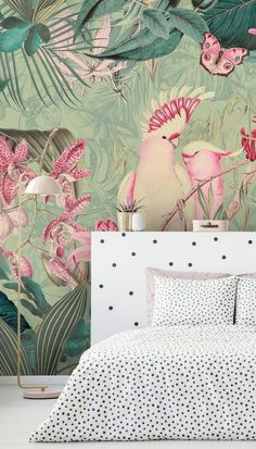 Transform your home with this tropical wallpaper from Wallsauce.com! Called Pink Cockatoos, this bird wallpaper is a firm favourite for bird enthusiasts. Why not install it in your bedroom, lounge or even a nursery? #parrotwallpaper #tropicalwallpaper