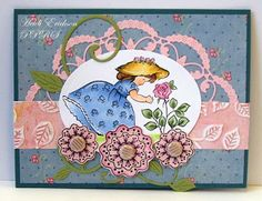 Prickley Pear Rubber Stamps: G0166 Little Girl with Rose,  CLR015A Blobby Flowers 2 Clearly Beautiful Stamp Set and D0015 Blobby Flowers Die