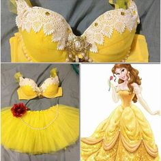 [this is absolutely not a Halloween costume. This is really hideously tacky lingerie] Princess Belle Inspired Rave Halloween costume Rave Halloween Costumes, Halloween Outfits, Belle Halloween, Diy Bra, Rave Gear, Fantasias Halloween, Princess Belle, Disney Princess, Rave Festival