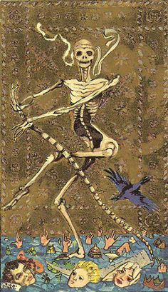 The origins of the Tarot are surrounded with myth and lore. The Tarot has been thought to come from places like India, Egypt, China and Morocco. Others say the Tarot was brought to us fr Memento Mori, Illustration Photo, Illustrations, Tarot Death, Death Art, Dance Of Death, Danse Macabre, Major Arcana, Medieval Art