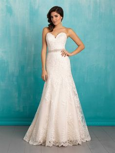 Allure Style 9302 strapless wedding gown, scalloped lace, sweetheart neckline, dropped waist A-line