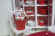 MIniature Red Dollhouse bucket with Kitchen towels by DebbieCalif, $10.00