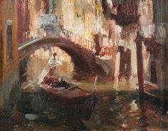 Edward Seago - The Dark Canal, Venice, Italy (1940)