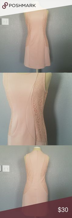 Gianni Bini Pink Dress Pretty light pink Gianni Bini sleeveless dress. Gorgeous lace designs on the sides. Has an eye hook and zipper closure in the back. 35 inches long. No known flaws. Gianni Bini Dresses