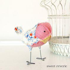 Mazie the Soft Sculpture Textile Fabric Bird Softie in Pink Yellow Blue and Orange Vintage Quilt