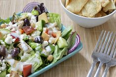 Loaded Greek Salad with Tzatziki Dressing | Virtually Homemade: Loaded Greek Salad with Tzatziki Dressing