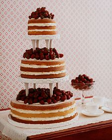 I've always wanted a simple homemade cake, for my wedding, and this one is definitely an inspiration! I found this a few years back on Martha Stewarts Website, tiered strawberry shortcake with fresh strawberries, who could resist?