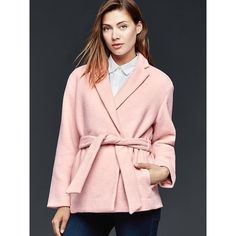 Dusty Pink Double Breasted Textured Coat   Coats & Jackets ...