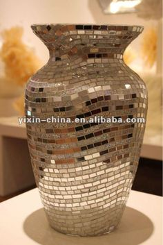 Details about vase of egg shell mosaic over lacquered wood for Espejos decorativos modernos