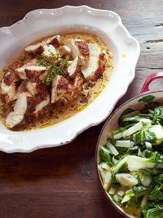 Mustard chicken, quick dauphinoise, greens, black forest affogato