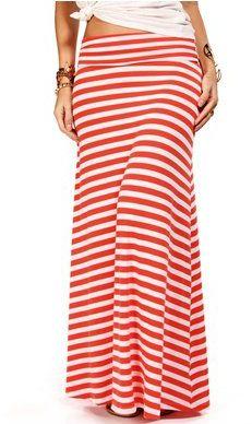 #Windsor                  #Skirt                    #CoralWhite #Stripe #Maxi #Skirt                    CoralWhite Stripe Maxi Skirt                                                  http://www.seapai.com/product.aspx?PID=1759460