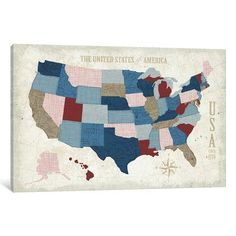 """East Urban Home 'Modern Vintage Blue USA Map' Graphic Art Print on Wrapped Canvas Size: 26"""" H x 40"""" W x 0.75"""" D"""