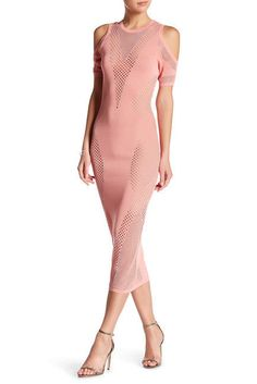 2917652012 Wow Couture Cold Shoulder Embroidered Knit Dress NWT Size M Pink
