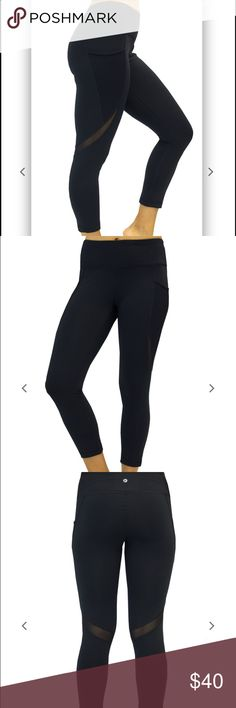 Mesh Panel Pocket Capri Legging These are the perfect pair of black leggings that look and feel just like Lululemon, they are 90 degrees by reflex, just half the price!!!! The mesh side pockets are perfect for keeping your phone in while working out, running, or just doing errands around town. There are sheer mesh details to the back of the leg as well. Also, high waist to keep you in and looking slim! lululemon athletica Pants Leggings