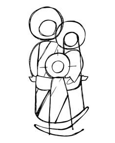 Hand drawn vector illustration or drawing of Jesus Sacred Family in a minimalist style Christian Drawings, Christian Images, Christian Art, Family Illustration, Holy Mary, Bible Art, Native Art, Painting For Kids, Religious Art