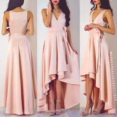 Take A Bow Wrap Dress - Blush Pink High Low Prom Dresses, Prom Party Dresses, Homecoming Dresses, Evening Dresses, Hi Low Bridesmaid Dresses, Dama Dresses, Modest Dresses, Casual Dresses, Formal Dresses