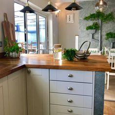 Blue Gray Kitchen Cabinets, Kitchen Decor, Kitchen Design, Kitchen Worktop, Work Tops, Updated Kitchen, Natural Materials, Slate, Walls