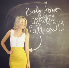 Simple and cute pregnancy announcement.  Would be really cute if you were a teacher.