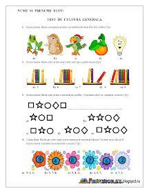 Fise de lucru - gradinita: TEST de Cultura Generala pentru copiii de Clasa Pregatitoare Number Worksheets, Kids Education, Activities For Kids, Diy And Crafts, Preschool, Teaching, Writing, Math, Blog