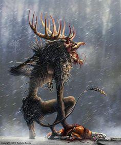 ArtStation - The Wendigo, Rushelle Kucala Dark Creatures, Mythical Creatures Art, Mythological Creatures, Monster Concept Art, Fantasy Monster, Monster Art, Arte Horror, Horror Art, Le Wendigo