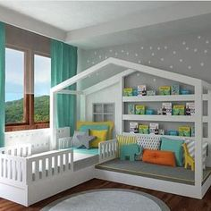 Ideas to enhance: Guard rails removable, drawers under bed, reading couch transforms to desk area maybe.