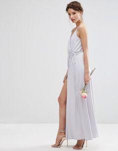 Image 1 - ASOS Wedding - Robe portefeuille à bretelles longue en crêpe