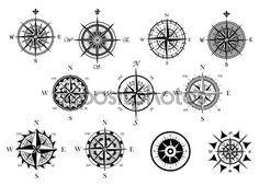 Vintage náutica o Marina rosa de los vientos y los iconos brújulas establecen, para el recorrido, diseño de navegación
