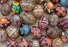 Ukrainian Easter Egg sculptures are not only for Easter, but are gorgeous, elegant sculptures you can proudly display in your home year round. Pysanky, as the eggs are called, are traditionally made using a wax resist (batik) method. Beeswax is. Egg Crafts, Easter Crafts, Polish Easter Traditions, Christmas Traditions, Art D'oeuf, Easter Egg Designs, Ukrainian Easter Eggs, Coloring Easter Eggs, Egg Coloring