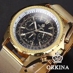 New product for sale at Wrist Gear Enterprises: ORKINA Steel Mesh...  Visit link here: http://wristgearenterprises.com/products/orkina-steel-mesh-band-6-hand-chronograph-golden-black-analog-quartz-mens-gentle-business-dress-wrist-watch-with-gift-box?utm_campaign=social_autopilot&utm_source=pin&utm_medium=pin
