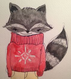 November 26.  Raccoon in a snowflake sweater.   Watercolor and pen on paper.