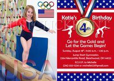 Olympic Gold Medal Gymnastics Birthday Photo Invitation Uprint | DigitalDelight - Digital Art  on ArtFire