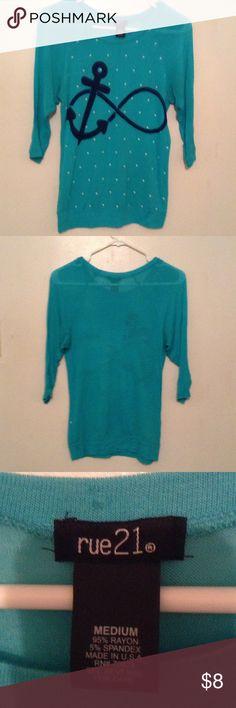 Infinity Anchor Shirt Cute, bright and fun top. Rue 21 Tops Tees - Long Sleeve
