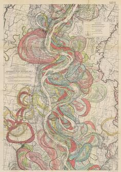 By the Mississippi River Commission, 1944. A map of the ancient courses of the Mississippi River from southern Missouri to the start of the delta in Louisiana.