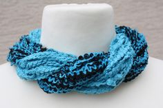 Schals - Loop Schlauchschal türkis schwarz Schal Textilgarn - ein Designerstück von trixies-zauberhafte-Welten bei DaWanda