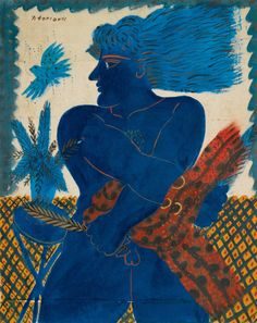 Alecos Fassianos (Greek, b. 1935), ATHENEAN WITH BLUE BIRD. Acrylic on canvas, 79 by 63cm (31 by 24¾in.) Source: terminusantequem