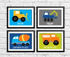 Trucks art prints construction wall decor by RainbowsLollipopsArt