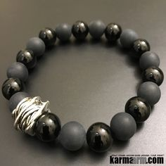 MANTRA: My mind is clear of can't. - 10mm Black Onyx Natural Gemstones - 10mm Matte Black Onyx Natural Gemstones Silver-Plated Twine Rondelle - Commercial Strength, Latex-Free Elastic Band - Artisan C