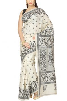 Beige & Black Paisley Kantha Tussar Silk Saree