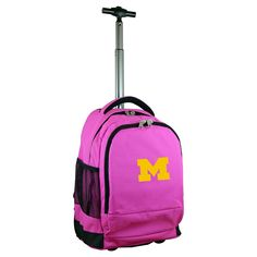 NCAA Michigan Wolverines Pink Premium Wheeled Backpack