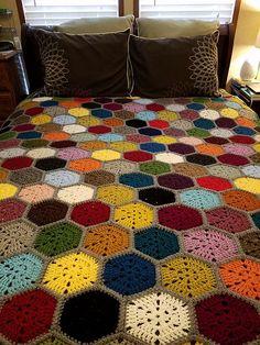 21 Ideas for crochet afghan hexagon blankets
