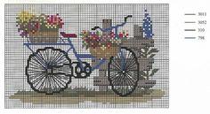 Bordados em Ponto Cruz para Toalhas, Cozinha, Infantil e Outros: 30 Gráficos Cross Stitch Embroidery, Cross Stitch Patterns, Arancini, Needlework, Arts And Crafts, Bicycle, Crafty, Handmade, Zoom Zoom