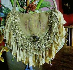Boho bag with lace, ribbons