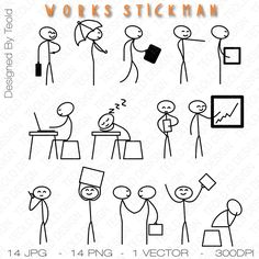 Stick Figure Clipart Clip Art Stick Business by TeoldDesign Doodle Drawings, Easy Drawings, Doodle Art, Stick Men Drawings, Stick Figure Drawing, Doodle People, Doodles, Sketch Notes, Wedding Card Design