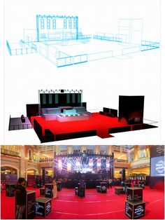 Our stage design for one of the best party experiences in the Philippines, Hennessy Artistry. A multi-level stage setup with moving DJ booth and giant LED screen. This is how we make intelligent stage designs happen. Tv Set Design, Stage Set Design, Screen Design, Lighting Concepts, Lighting Design, Concert Stage Design, Corporate Event Design, Exhibition Stall, Stage Lighting