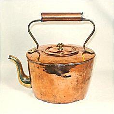 Antique Oval Gooseneck Copper Tea Kettle