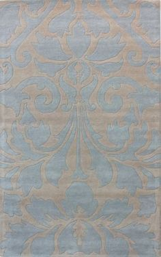 Modern Damask Light Blue Rug. Not my usual taste at all, but placed in the right room & right colors, this works.