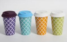 I love these fun cups. They would totally enhance my coffee experience. My Coffee, Coffee Cups, Red Color Schemes, Reusable Coffee Cup, Fun Cup, Cup And Saucer, Gift Guide, Gifts For Women, Bakery