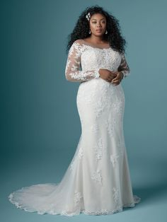 """Maggie Sottero - CHEVELLE LYNETTE Plus Size Sheath Wedding Dress. """"Once upon a time"""" starts with many things, but your """"happily ever after"""" may just begin with this off-the-shoulder sheath wedding dress in rosy lace motifs and delicate illusion. Plus Wedding Dresses, Maggie Sottero Wedding Dresses, Cute Wedding Dress, Wedding Dress Styles, Bridesmaid Dresses, Plus Size Wedding Dresses With Sleeves, Lace Wedding, Crystal Wedding, Floral Wedding"""